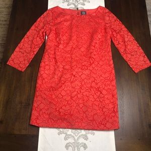 Vince Camuto red / coral lace dress size 10